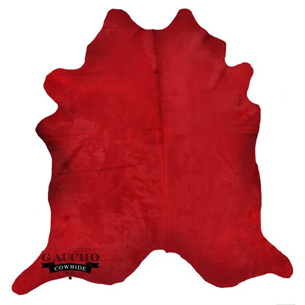 One-of-a-Kind Jonson Solid Dyed Red Cowhide Area Rug by Bloomsbury Market