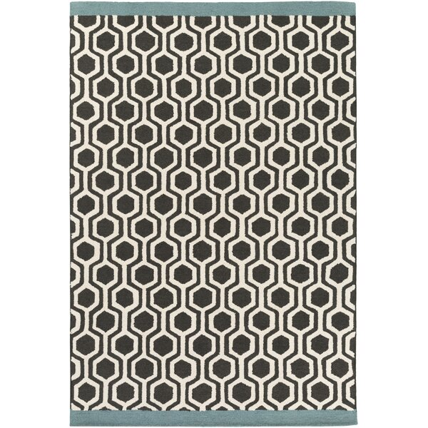Blitar Hand-Crafted Black/Teal Area Rug by Wrought Studio