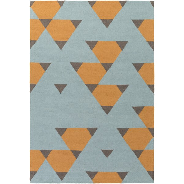 Youngquist Hand-Crafted Orange, Aqua/Gray Area Rug by George Oliver