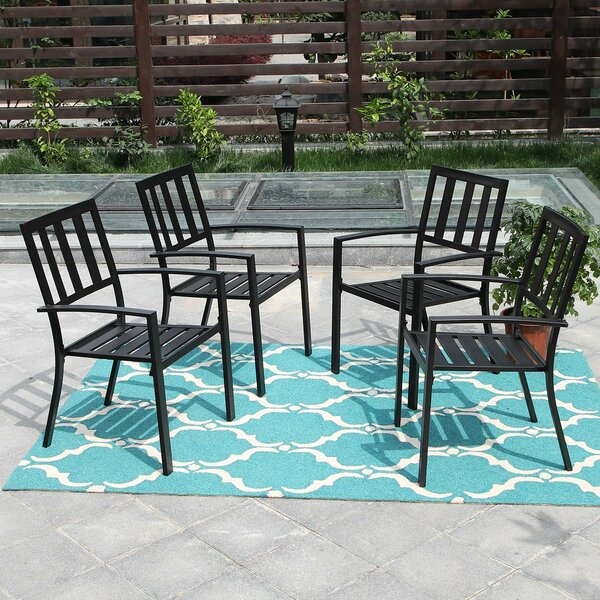 Rotman Furniture Stacking Patio Dining Chair (Set Of 4) By Winston Porter by Winston Porter Best