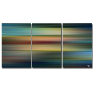 'Blur Stripes LVII' by Tristan Scott 3 Piece Graphic Art on Wrapped Canvas Set by Ready2hangart
