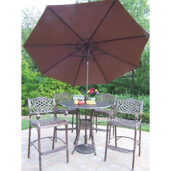 Zofia 5 Piece Bar Height Dining Set with Umbrella by Charlton Home