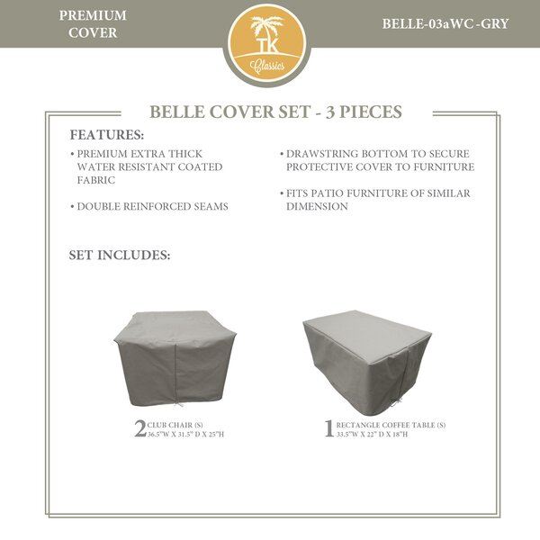 Bee 3 Piece Water Resistant Patio Furniture Cover Set by TK Classics