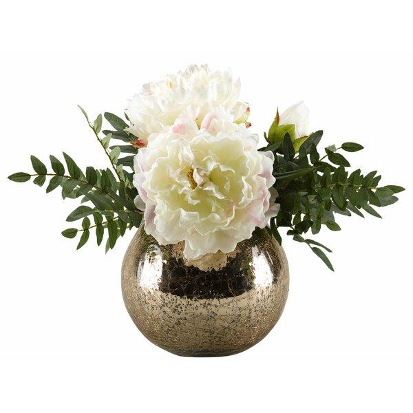 Peonies Floral Arrangement in Pot by House of Hampton
