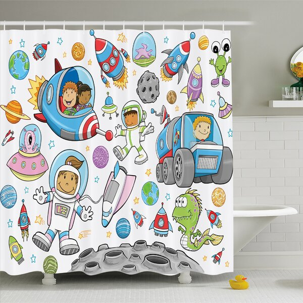 Outer Space Deep Space Astronaut Alien Rockets on Moon Kids Nursery Shower Curtain Set by Ambesonne