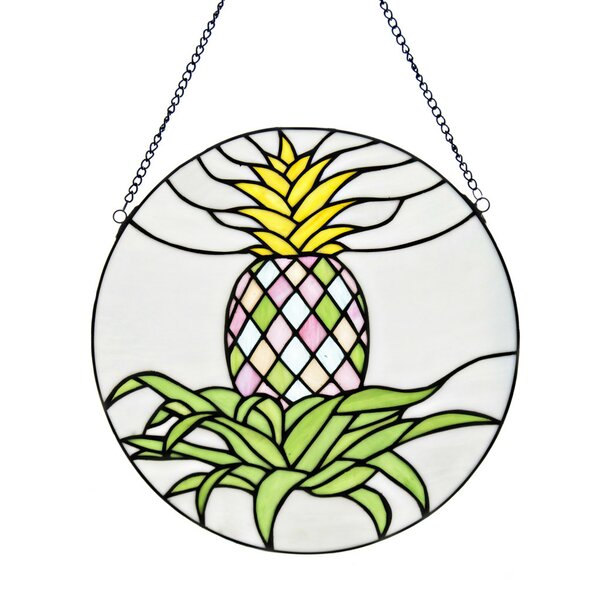 Stained Glass Blooming Pineapple Window Panel by Bay Isle Home