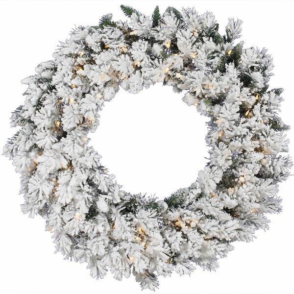 Flocked Snow Ridge Sprays Wreath with 50 Dura-Lit Lights by Vickerman