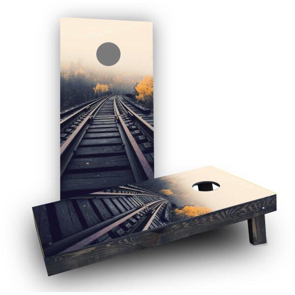 Train Tracks Cornhole Boards (Set of 2) by Custom Cornhole Boards