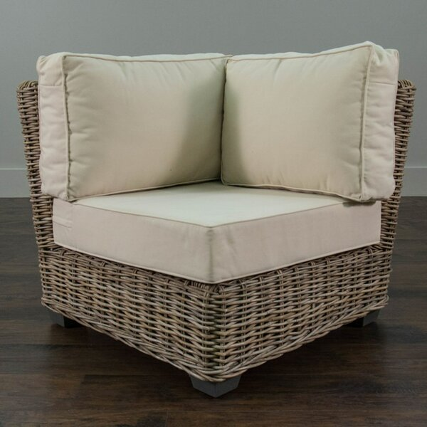 North Bay Driftwood Rattan Corner Chair with Cushion by Rosecliff Heights