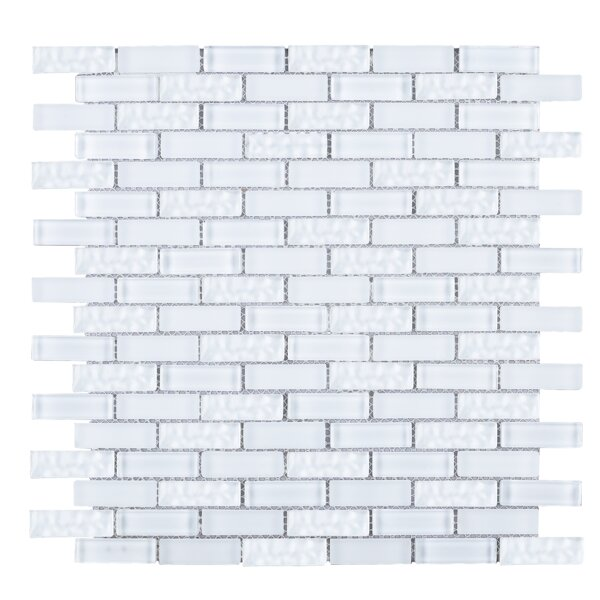 Crystile 1 x 2 Glass Tile in White by Multile