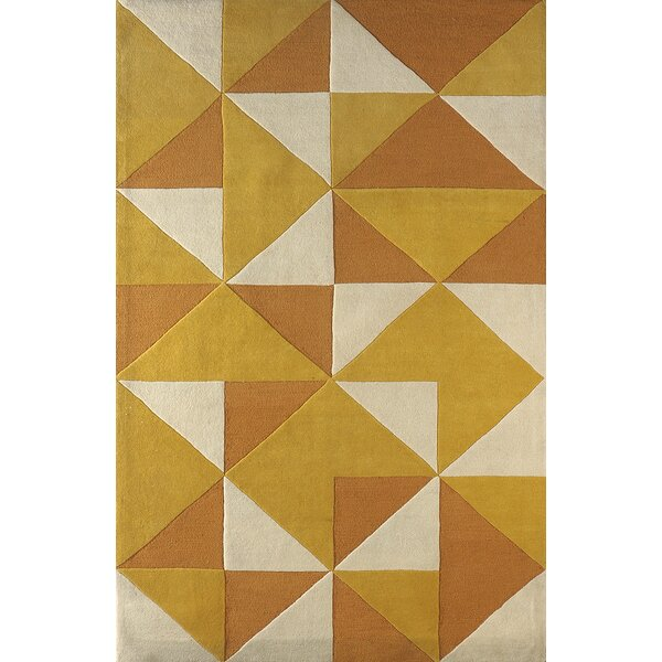 Lueras Hand-Tufted Gold/Ivory Area Rug by Brayden Studio