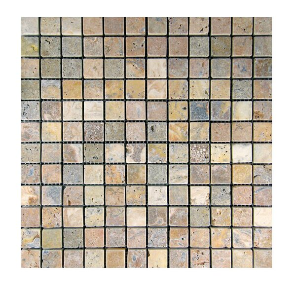 Tumbled 1 x 1 Natural Stone Mosaic Tile in Fantastico by QDI Surfaces