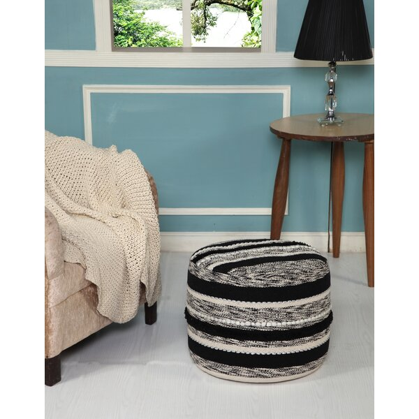 Lacluta Accented Noir Pouf By Bungalow Rose Savings