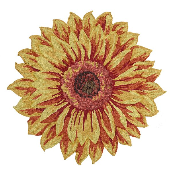 Salerno Floral Shaped Hand Hooked Wool Yellow Area Rug by August Grove