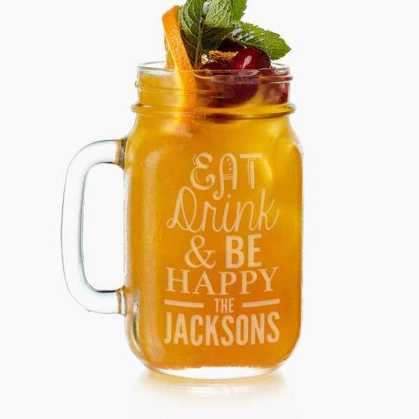 Personalized Glass 16 oz. Mason Jar by Monogramonline Inc.