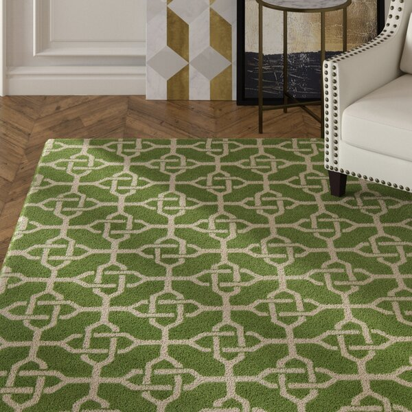 Electra Hand Tufted Rectangle Contemporary Green/Cream Area Rug by Mercer41