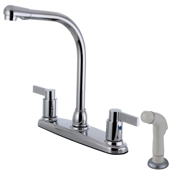 Nuvofusion Double Handle Kitchen Faucet with Side Spray by Kingston Brass