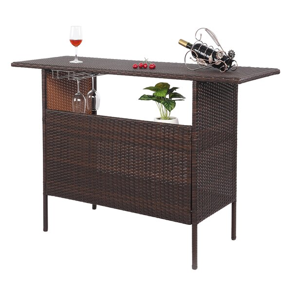 Bonnefoy Rattan Bar Table by Ebern Designs
