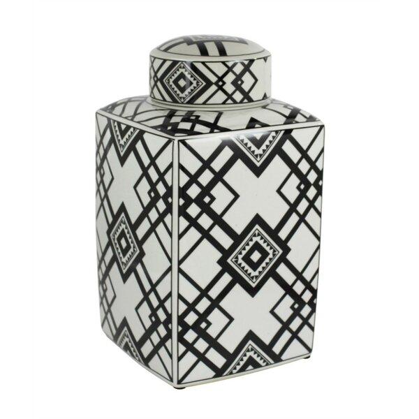 Captivating Square Decorative Ceramic Storage Jar by Foundry Select