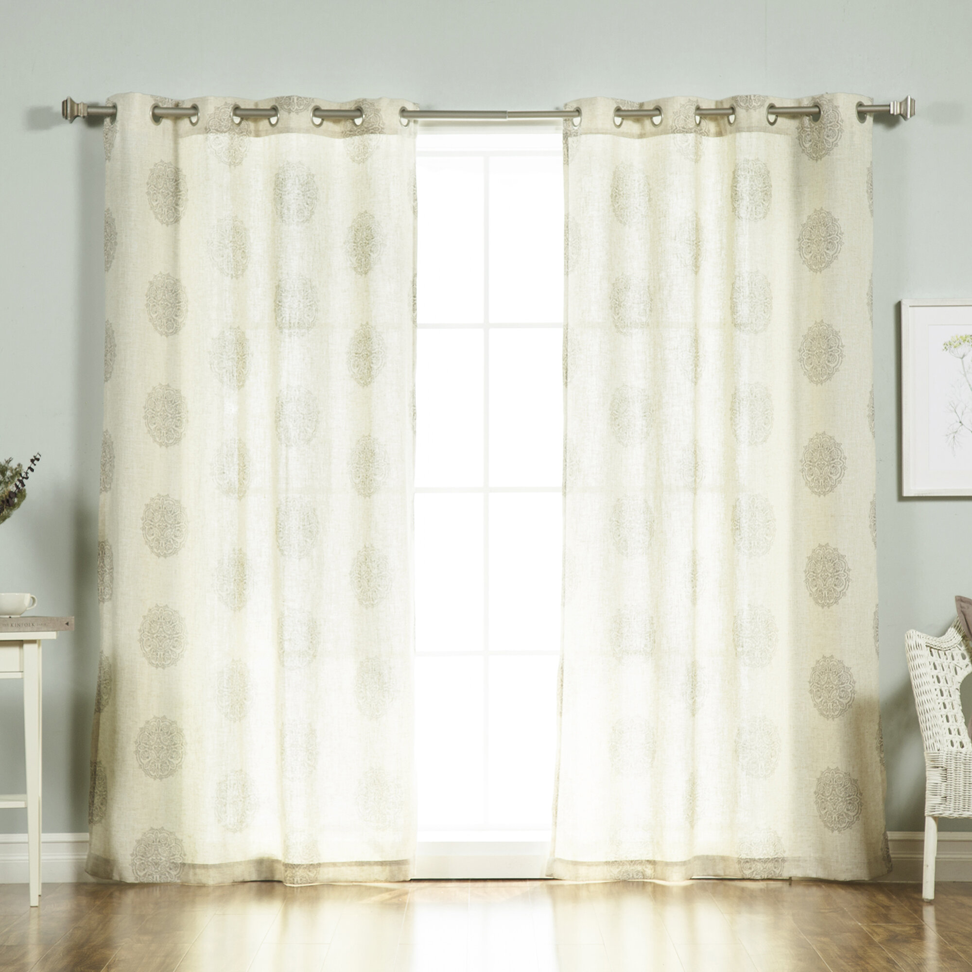 linen sheer look grommet window product deconovo curtains curtain stripe vertical
