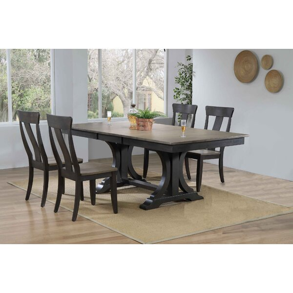 Georges Double Pedestal Deco Panel Back 5-Piece Solid Wood Dining Set by Gracie Oaks