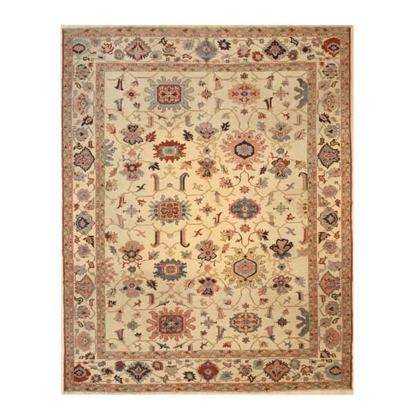 One-of-a-Kind Emet Soumack Hand-Knotted Wool Ivory Area Rug by Bloomsbury Market