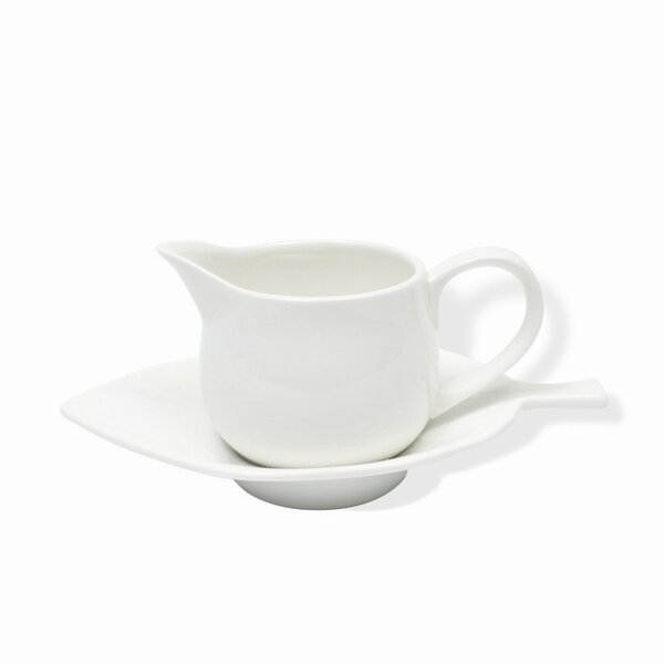 White Basics Mint Sauce Dish and Saucer Gravy Boat (Set of 2) by Maxwell & Williams