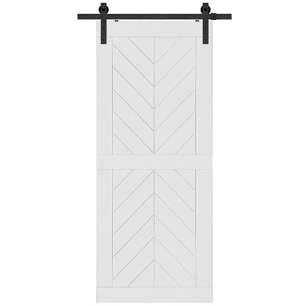 Chevron Solid Manufactured Wood Panelled MDF Interior Barn Door by Barndoorz