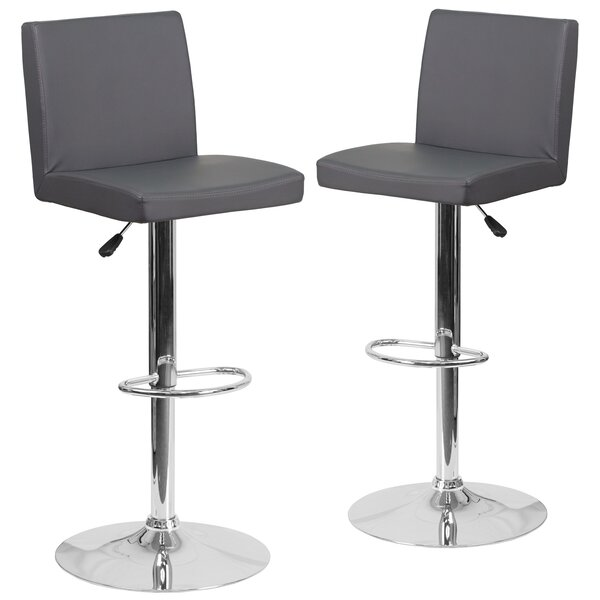 Nobles Adjustable Height Swivel Bar Stool (Set of 2) by Orren Ellis
