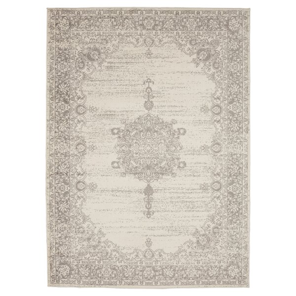 Zander Medallion Ivory/Gray Indoor Area Rug by Ophelia & Co.