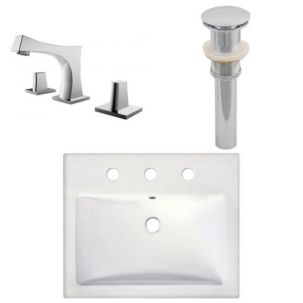 Semi-Recessed Rectangular Vessel Bathroom Sink with Faucet