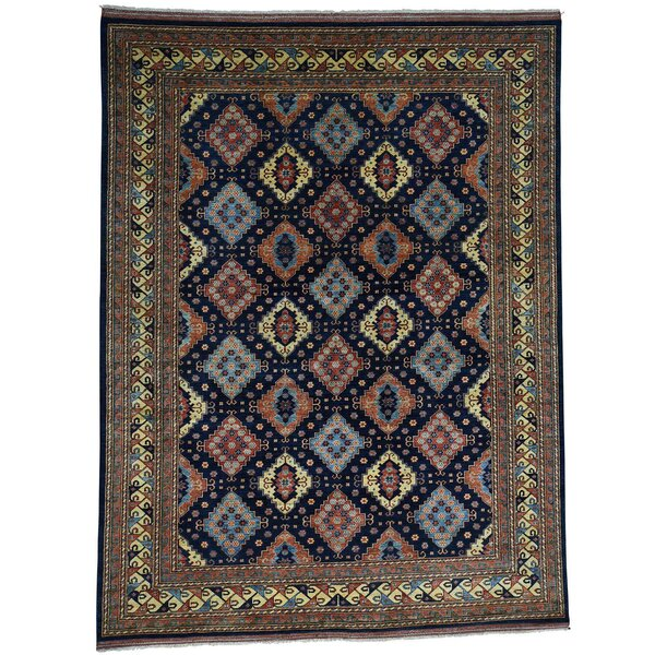 One-of-a-Kind Afghan Ersari Hand-Knotted Navy Area Rug by Bloomsbury Market