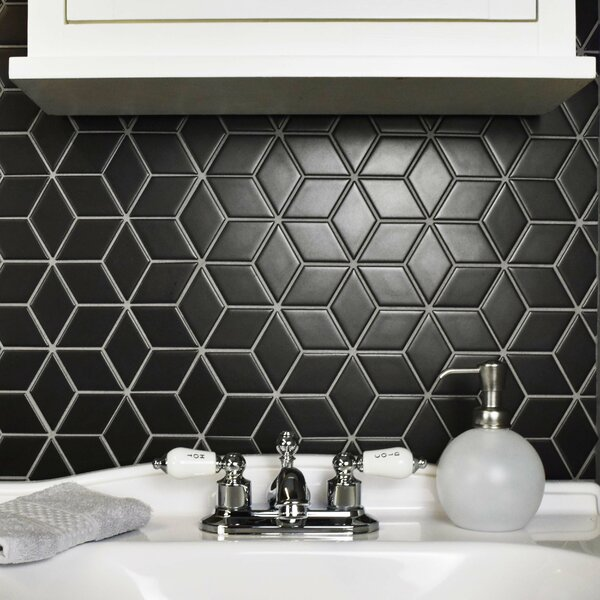 Retro Rhombus 1.88 x 3.18 Porcelain Mosaic Tile in Matte Black by EliteTile