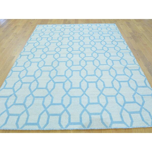 One-of-a-Kind Blanch Reversible Handmade Kilim Blue Wool Area Rug by Isabelline