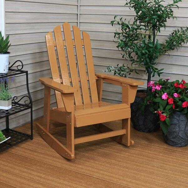 Evgenia Classic Solid Wood Rocking Adirondack Chair by Ebern Designs