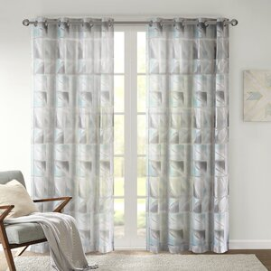 Molina Geo Geometric Sheer Grommet Single Curtain Panel