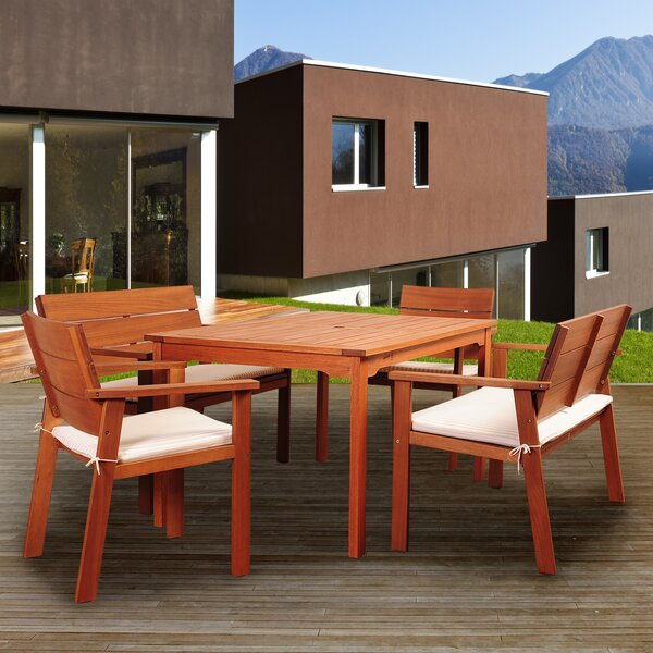 Tyntesfield International Home Outdoor 5 Piece Dining Set with Cushions by Highland Dunes