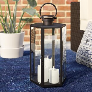 Compare prices Outdoor Glass and Metal Lantern By Mercury Row