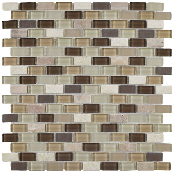 Ambit Glass/Natural Stone Mosaic Tile in Glossy Aegis by EliteTile