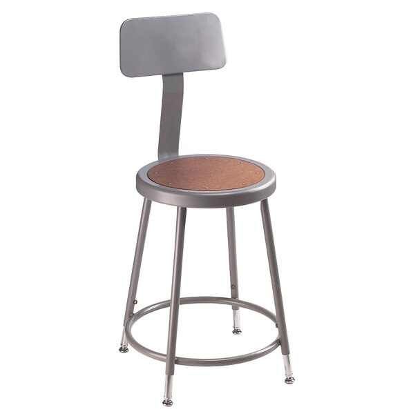 Height Adjustable Stool with Backrest by National