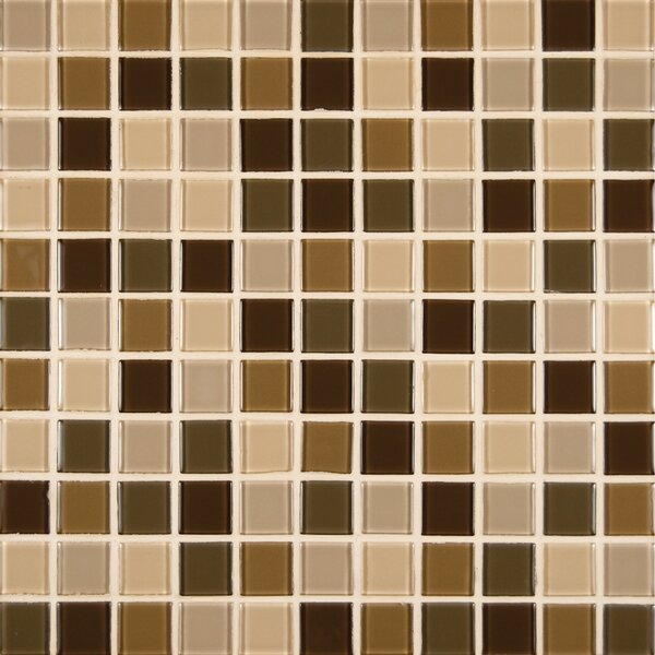 Spring Leaf Mounted 1 x 1 Glass Mosaic Tile in Beige by MSI