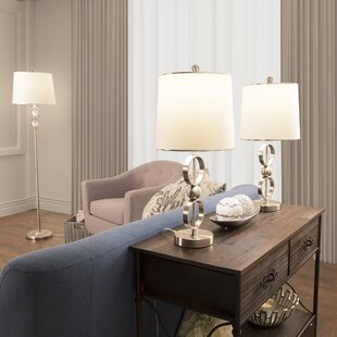 Bargain 3 Piece Table and Floor Lamp Set By Lavish Home
