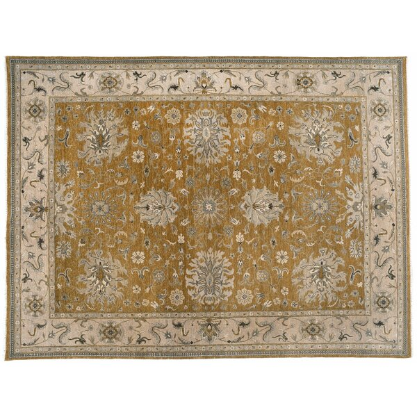 One-of-a-Kind Agra Hand-Knotted Green/Beige 9' x 11'1 Wool Area Rug