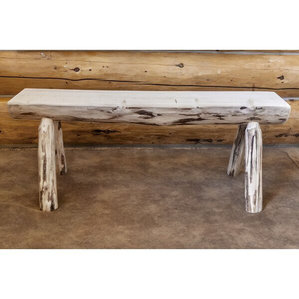 Tustin Half Log Wood Bench by Loon Peak