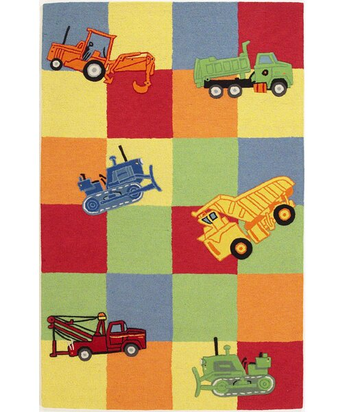 Shari Trucks Galore Green/Yellow Area Rug by Viv + Rae