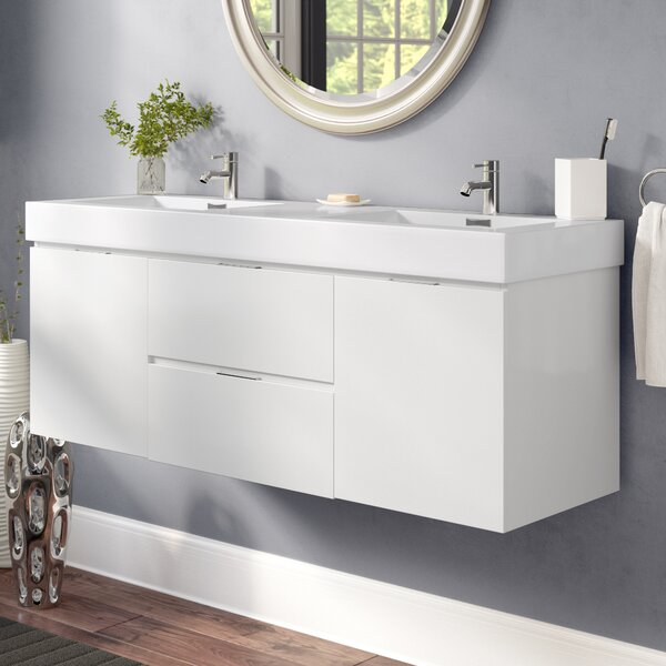 Tenafly 59 Wall-Mounted Double Bathroom Vanity Set by Wade LoganTenafly 59 Wall-Mounted Double Bathroom Vanity Set by Wade Logan