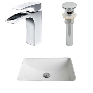 Great choice Ceramic Rectangular Undermount Bathroom Sink with Faucet and Overflow By American Imaginations