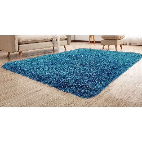 Heineman Solid Shag Hand-Tufted Blue Area Rug by Latitude Run