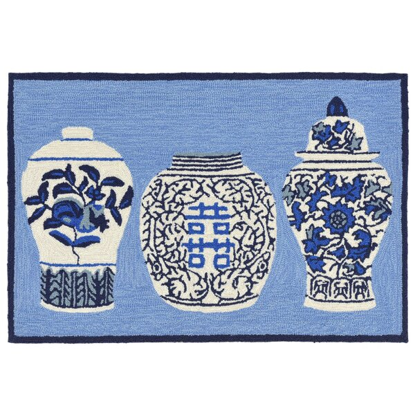 Ardelle Ginger Jars Handmade Blue Indoor/Outdoor Area Rug by Bloomsbury Market