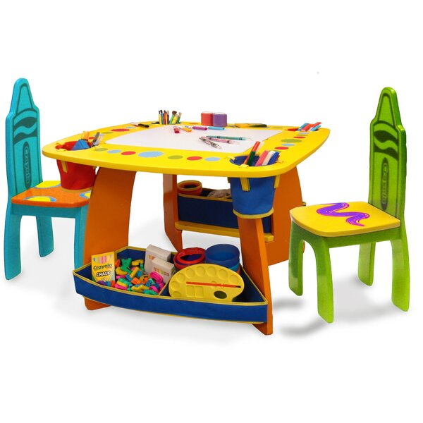 Crayola Wooden Kids 3 Piece Table and Chair Set by